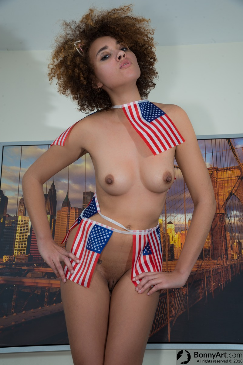 Naked American Model Wearing USA Flags