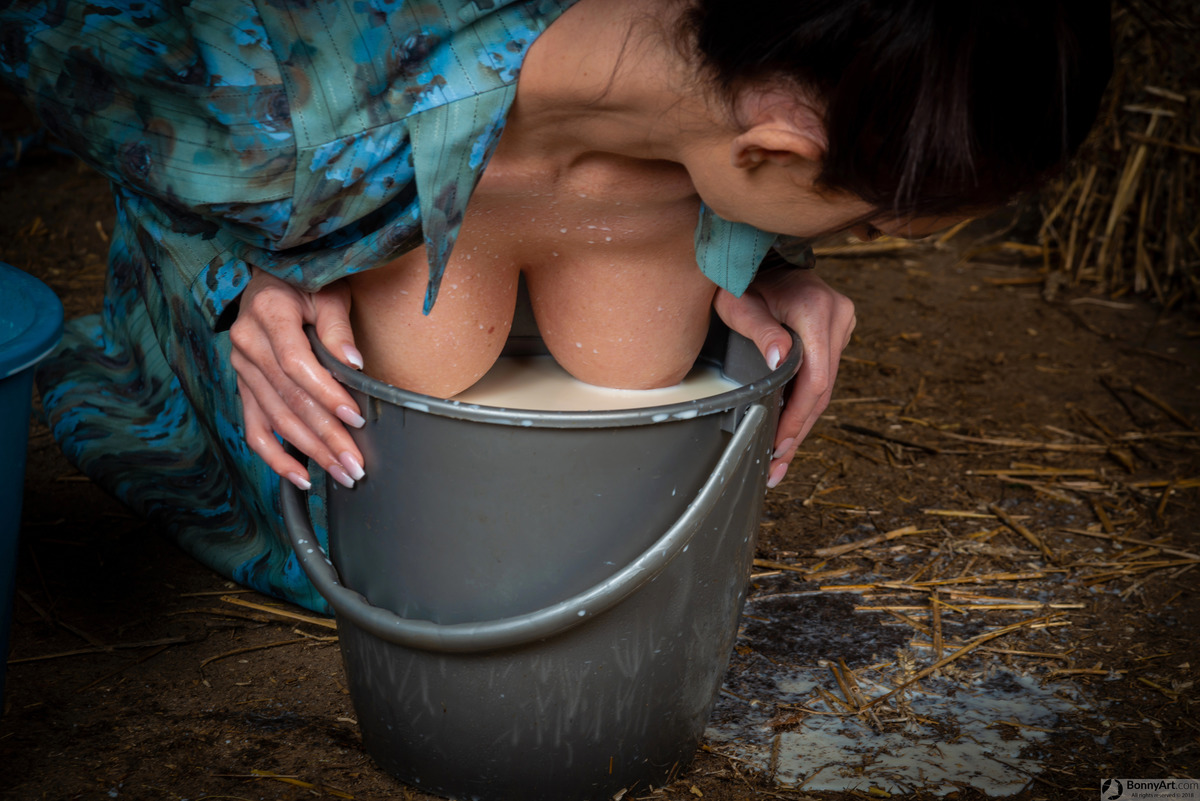 Big Breasts Dipping in the Milk Bucket