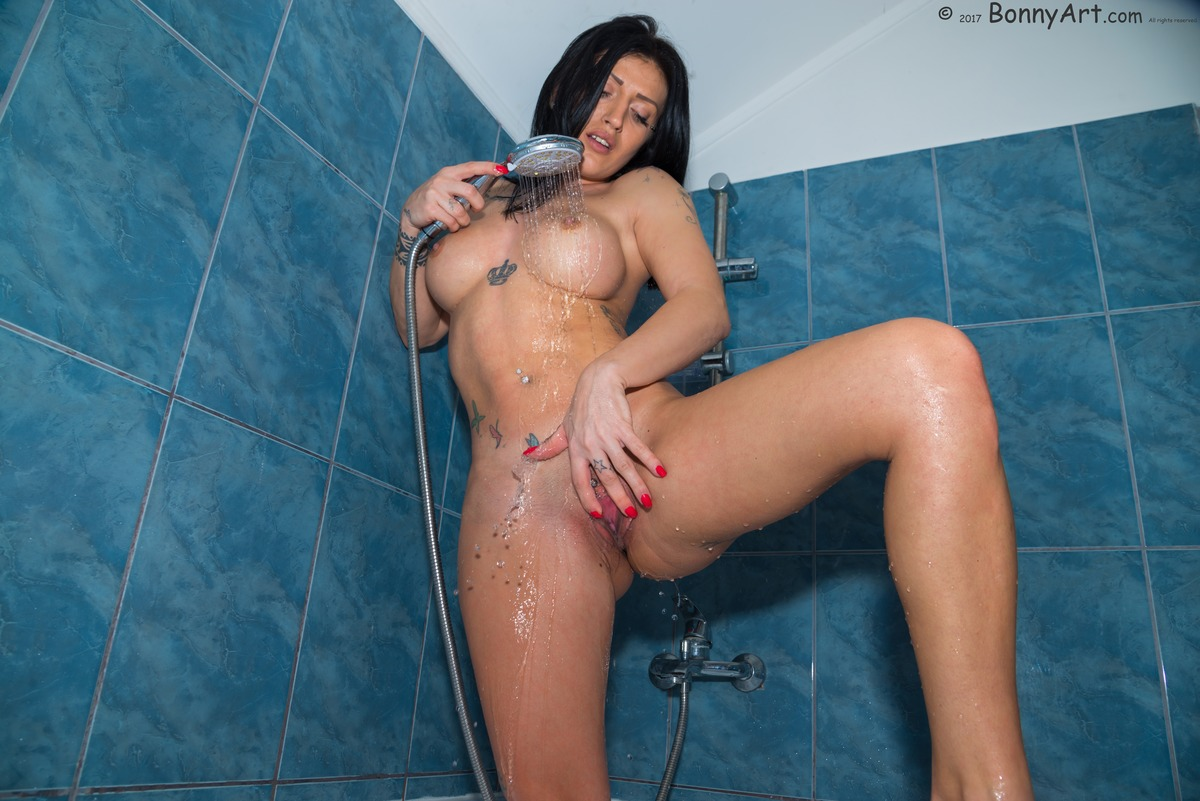 Strong Girl Showering Spreading Pussy