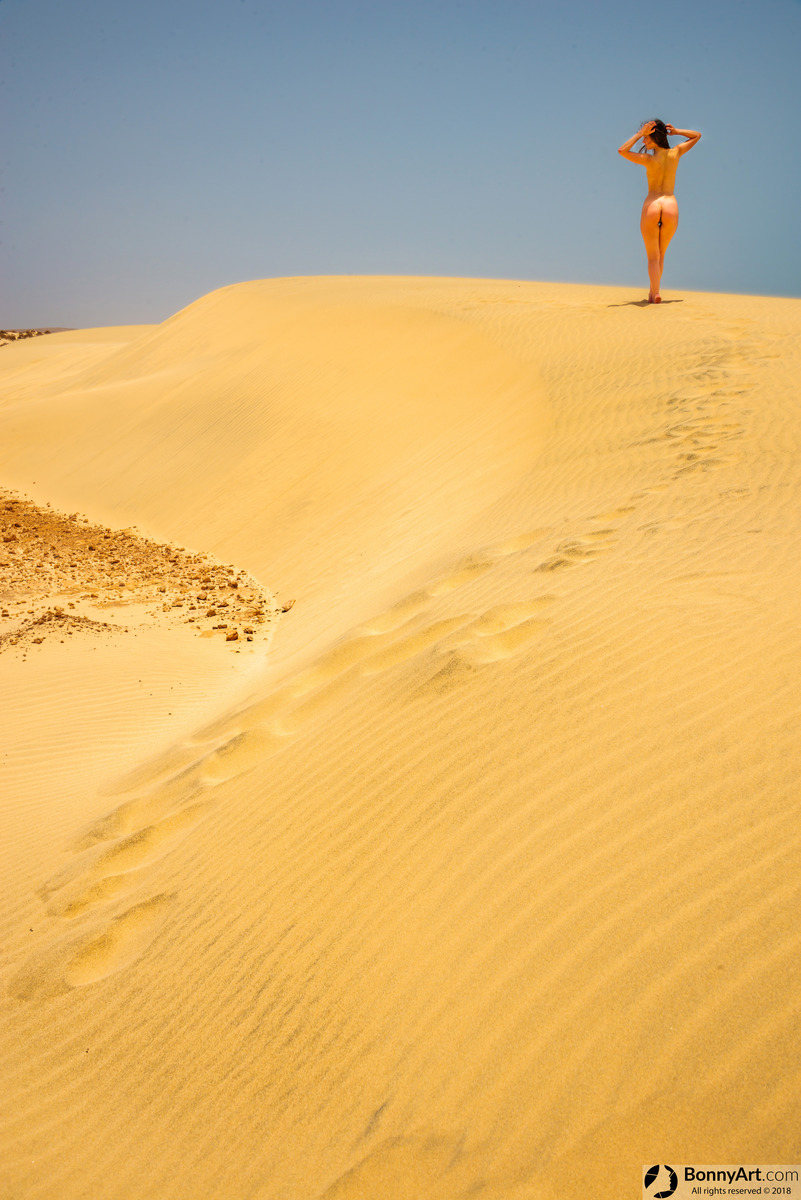 Desert Nudist Girl on the Yellow Sand Dunes Road