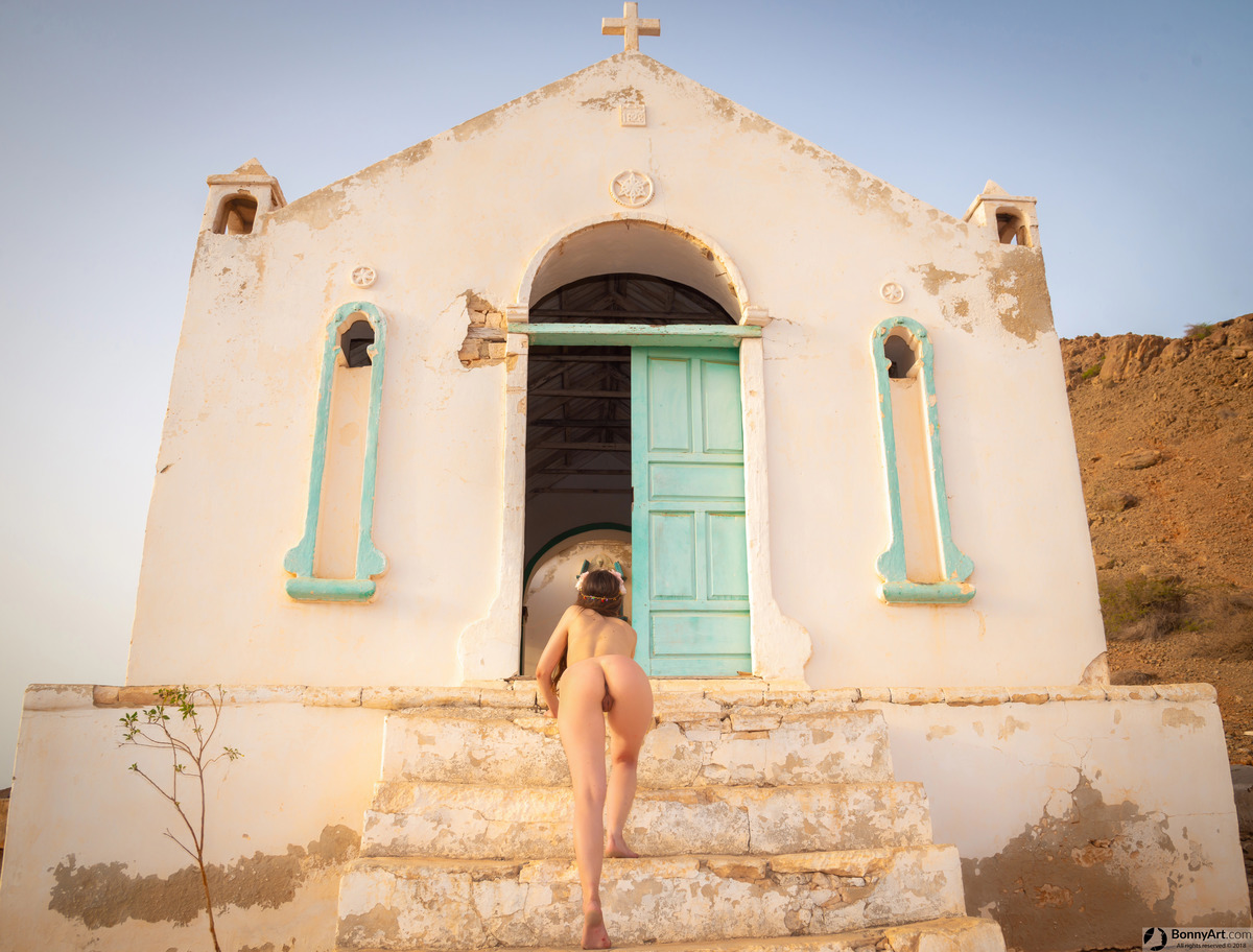 Nude Woman Crawling to the Church