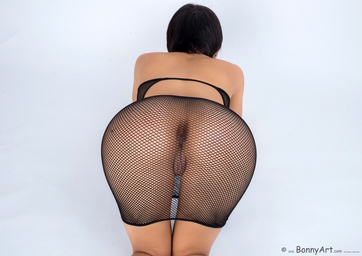On all fours Pussy through Sheer Fishnets Dress