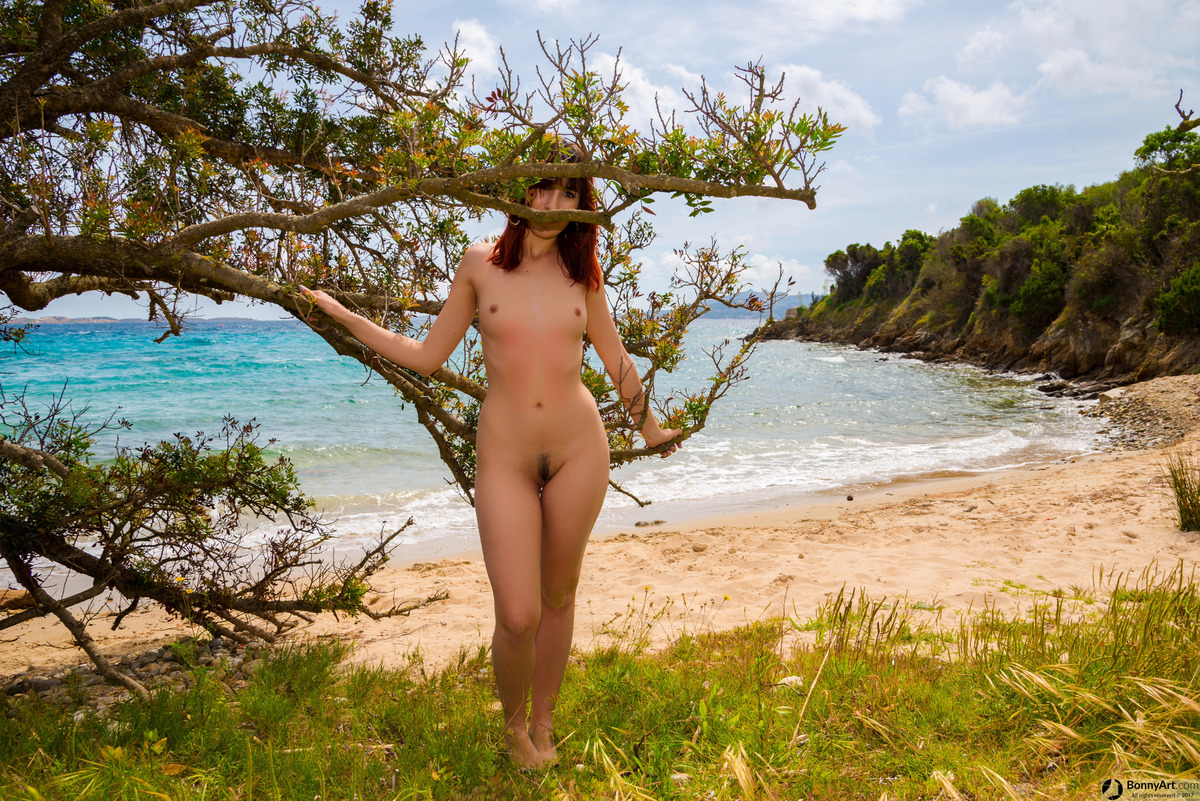 Naturist Woman Posing at the Beach's Tree