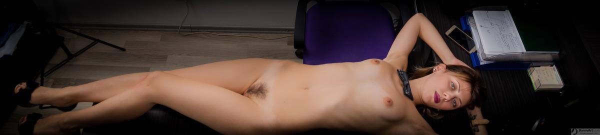 Nude Beautiful Secretary Lying down the Office