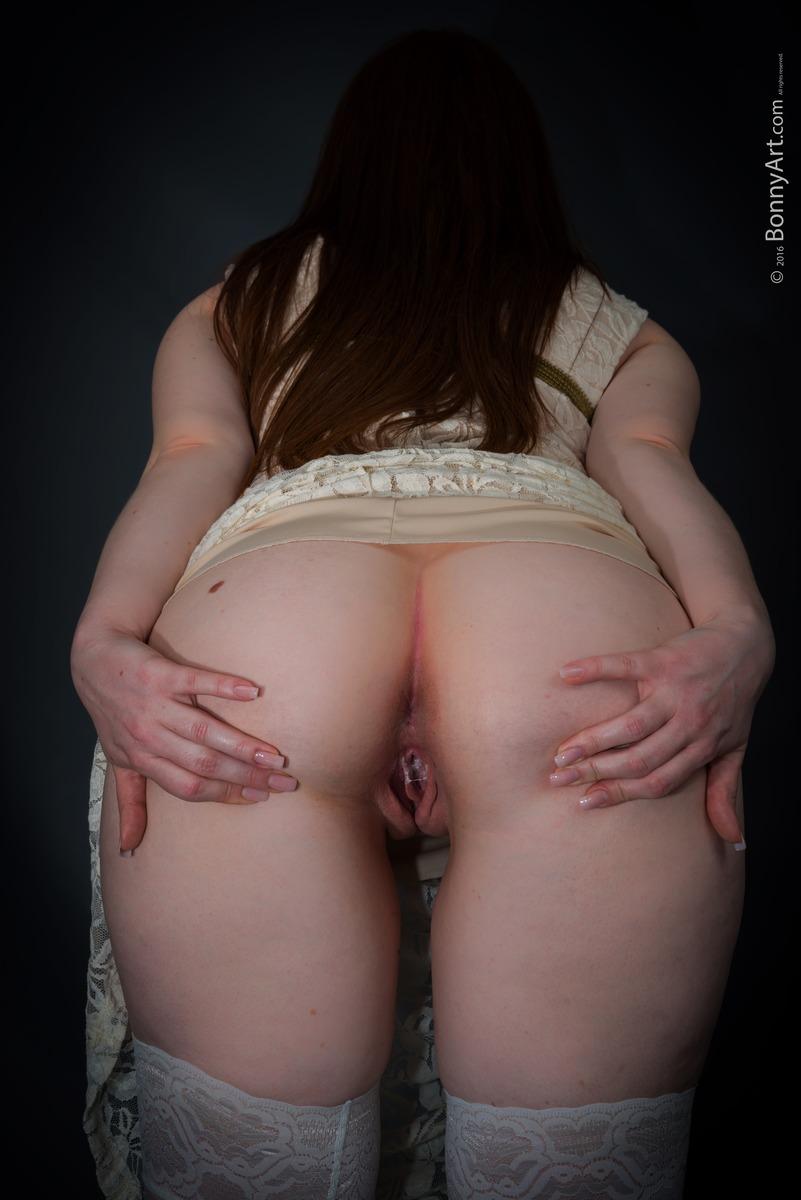 White Booty Bent Over Spreading Creampie Twat