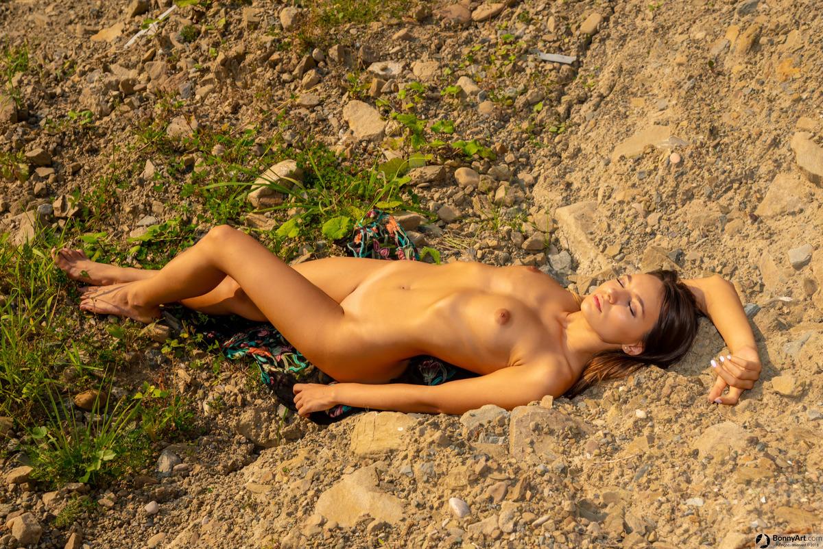 Beautiful Naturist White Woman Sunbathing