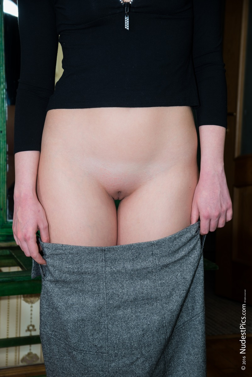 Shaved White Pussy out of Skirt Teasing