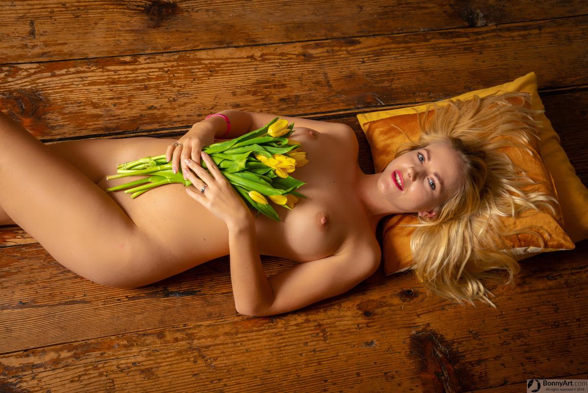 Nude Dutch Girl with Tulips