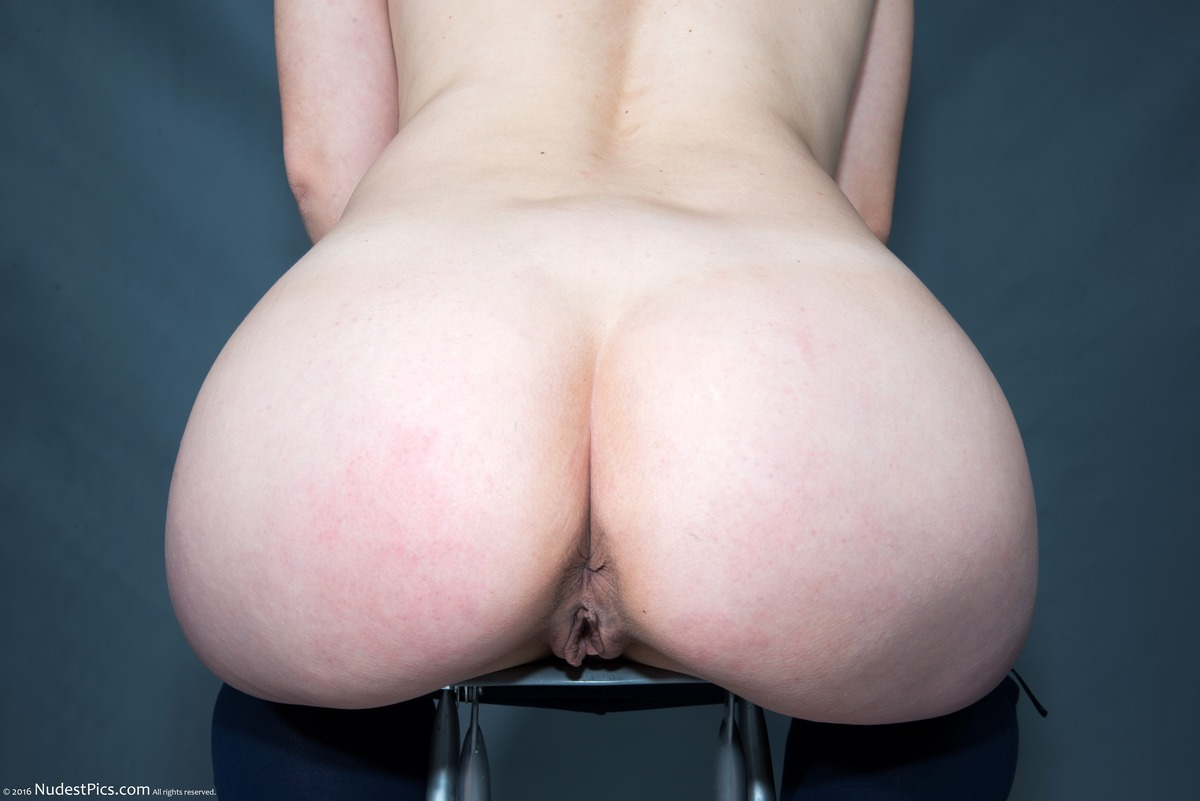 Naked Large White Woman's Butt Sitting Down Cunt Visible